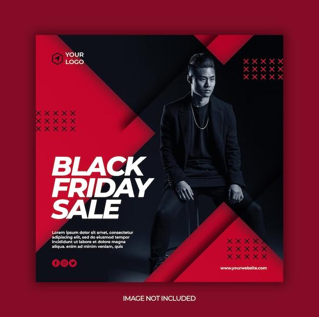 Banner de venta de moda de viernes negro o folleto cuadrado para plantilla de publicación en redes sociales