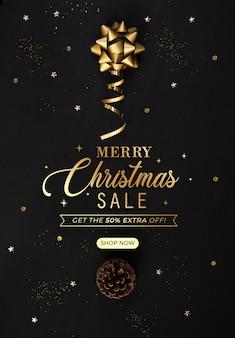 Banner de venta de navidad con plantilla de descuento
