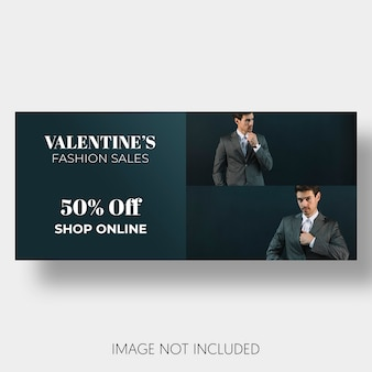 Banner de venta de plantillas para el día de san valentín.