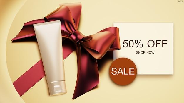 Banner de venta con productos de belleza y cinta roja.