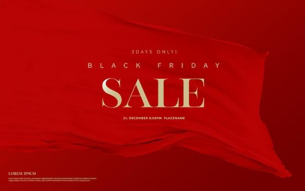 Banner de venta de viernes negro con cortinas de terciopelo de seda roja de lujo.