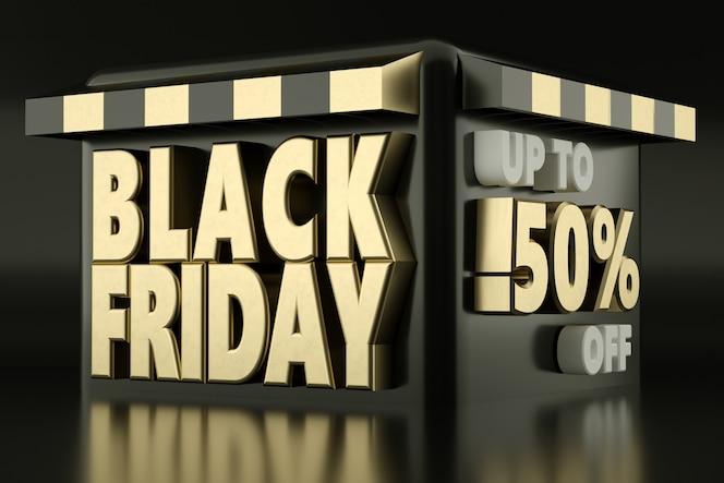 Banner de venta de viernes negro con detalles de descuento representación 3d