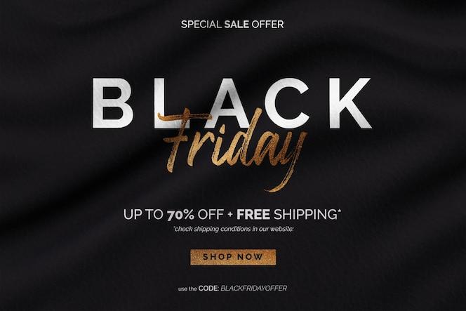 Banner de venta de viernes negro dorado en fondo de tela ondulada