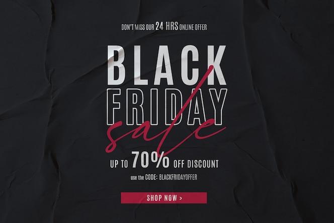 Banner de venta de viernes negro en fondo de papel encolado