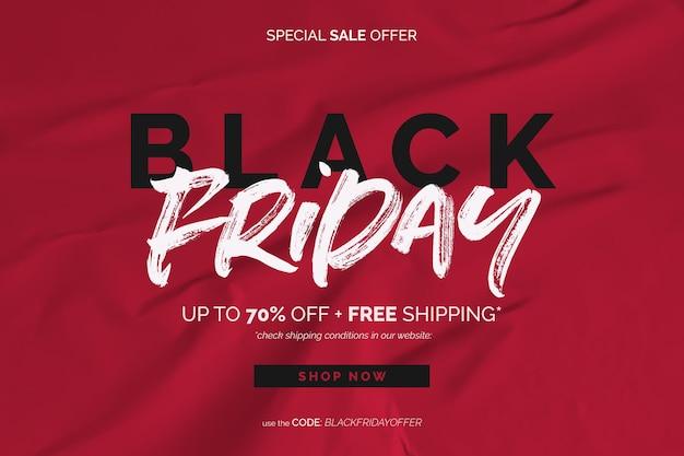 Banner de venta de viernes negro en fondo rojo de papel pegado