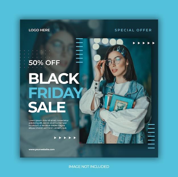 Banner de venta de viernes negro o folleto cuadrado para plantilla de publicación en redes sociales