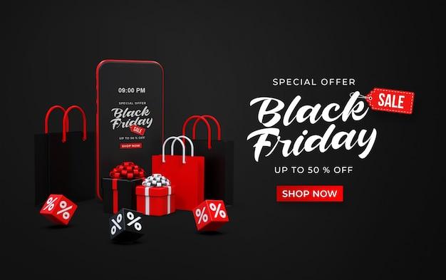 Banner de venta de viernes negro con teléfono inteligente 3d, bolsas de compras, cajas de regalos y cubos con porcentaje