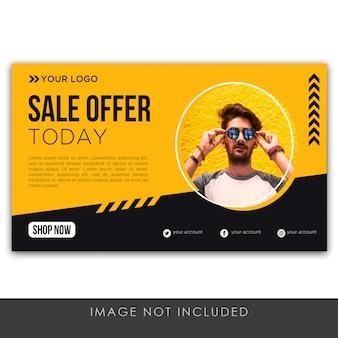 Banner verkoop aanbod gele en zwarte moderne sjabloon