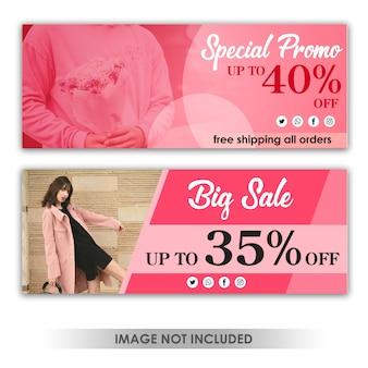 Banner verkoop roze sjabloon