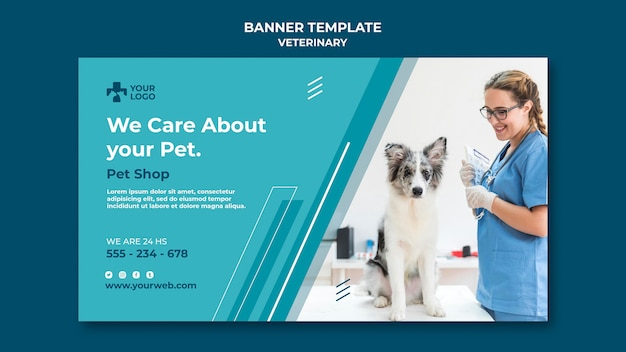 Banner veterinaire kliniek sjabloon