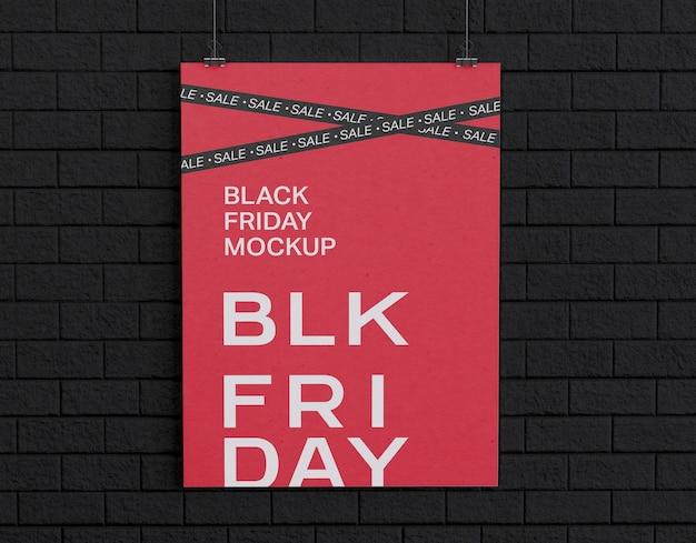 Banner de viernes negro en maqueta de pared negra