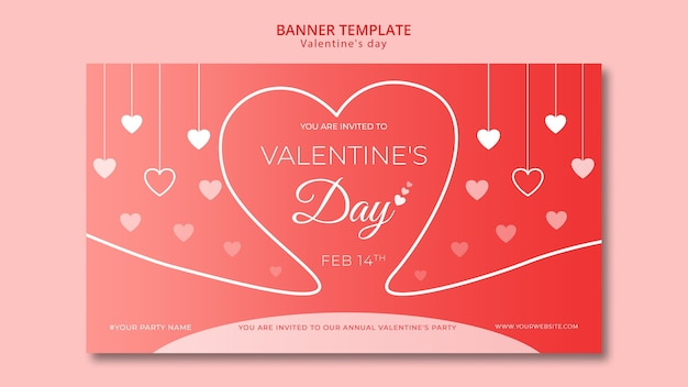Banner voor valentijnsdag sjabloon