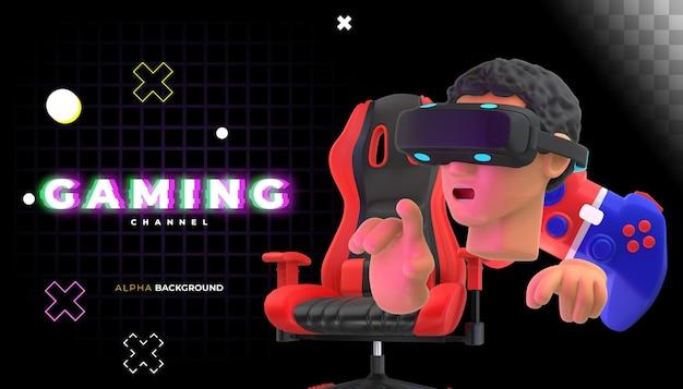 Banner voor videogamewinkel. 3d illustratie