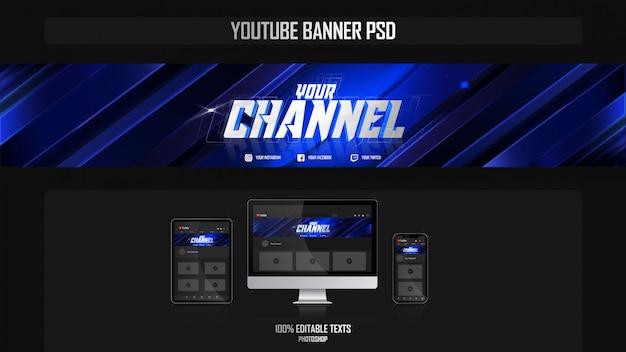 Banner voor youtube-kanaal met nachtconcept