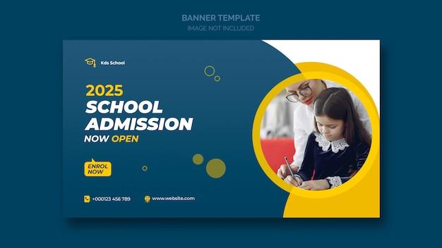 Banner web de admisión escolar o plantilla de banner social