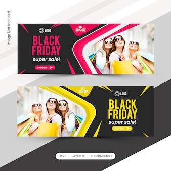 Banner de web de black friday fashion sale