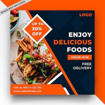 Banner de web de comida y plantilla de publicación en redes sociales.