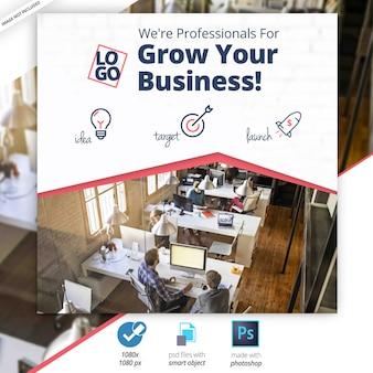 Banner web di social media marketing aziendale