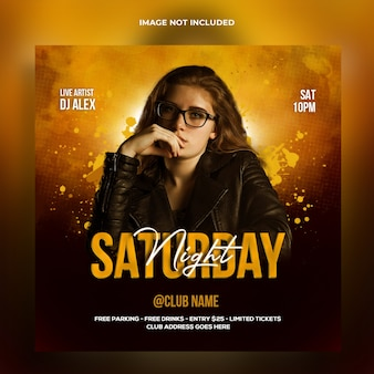 Banner web dj night party e modello di post sui social media