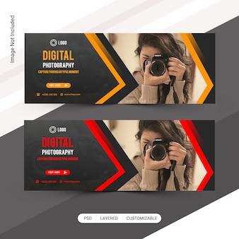 Banner web de fotografía, plantilla de portada de facebook