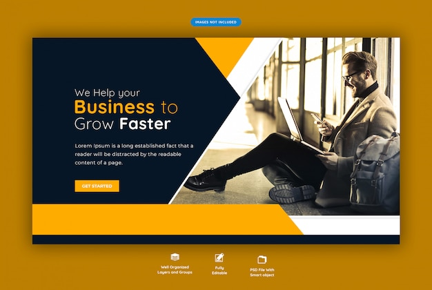 Banner de web horizontal de negocios corporativos