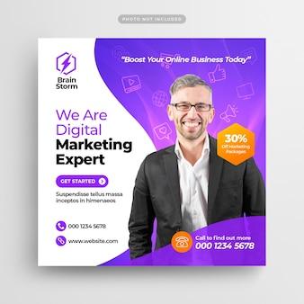 Banner web y publicación de redes sociales de marketing de negocios digitales