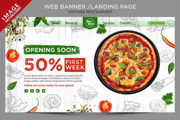 Banner web vintage fresco o serie de página de destino