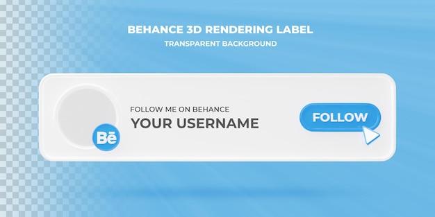 Banner zoekpictogram behance 3d-rendering banner geïsoleerd