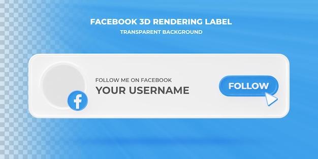 Banner zoekpictogram facebook 3d-rendering banner geïsoleerd