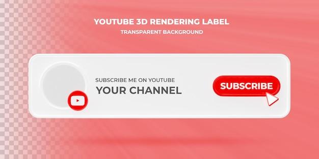 Banner zoekpictogram youtube 3d-rendering banner geïsoleerd
