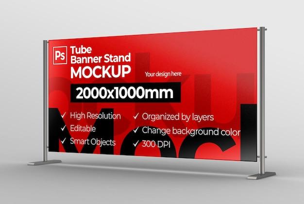 Bannerdisplay mockup voor branding en reclame- en communicatietentoonstelling