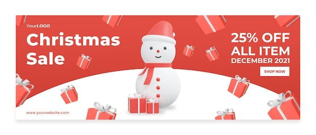 Bannermalplaatje kortingsverkoop die kerst viert 3d-rendering 3d illustratie premium psd