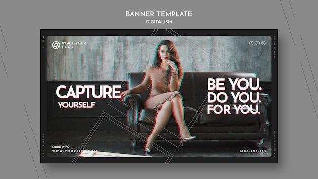 Bannermalplaatje om het thema van jezelf vast te leggen