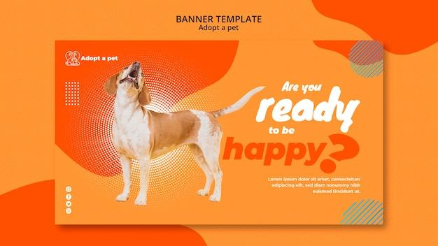 Bannermalplaatje voor adoptie van huisdieren vanuit opvangcentrum