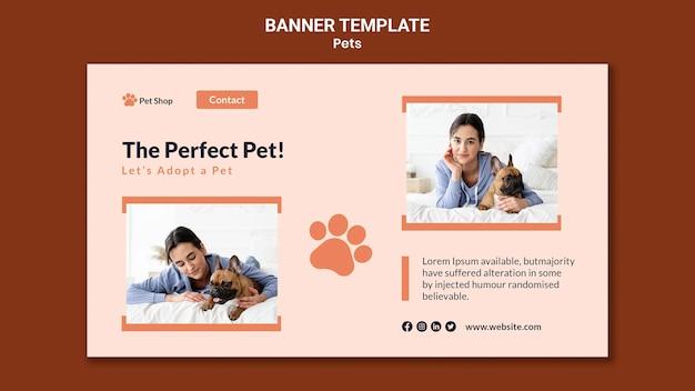 Bannermalplaatje voor adoptie van huisdieren