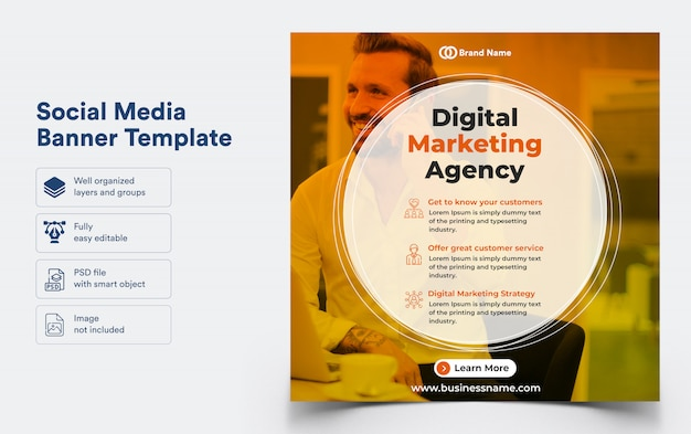 Bannermalplaatje voor digitale marketing voor sociale media
