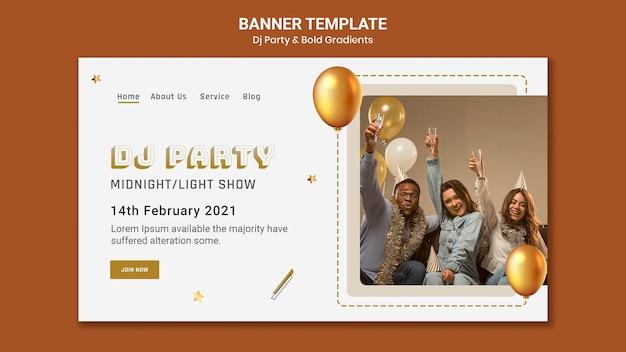 Bannermalplaatje voor dj-feest met mensen en ballonnen