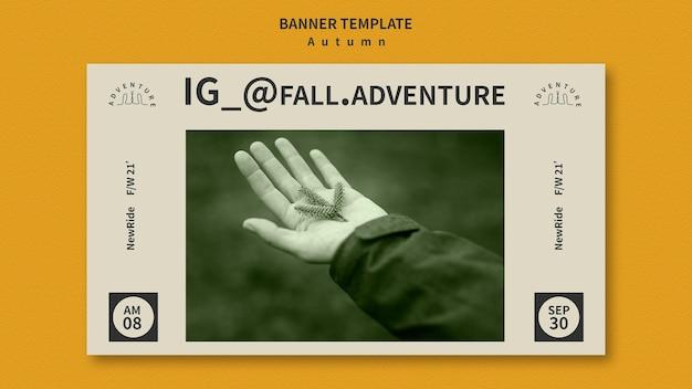 Bannermalplaatje voor herfstavontuur in het bos Gratis Psd