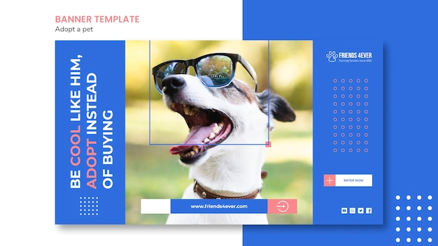 Bannermalplaatje voor het adopteren van een huisdier met hond