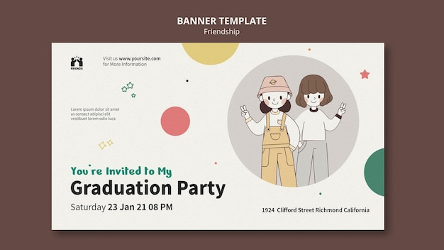 Bannermalplaatje voor internationale vriendschapsdag met vrienden