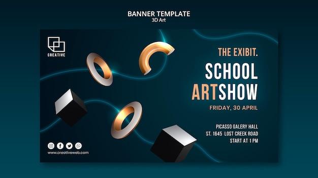 Bannermalplaatje voor kunsttentoonstelling met creatieve driedimensionale vormen