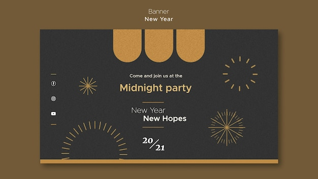 Bannermalplaatje voor middernachtfeest van het nieuwe jaar