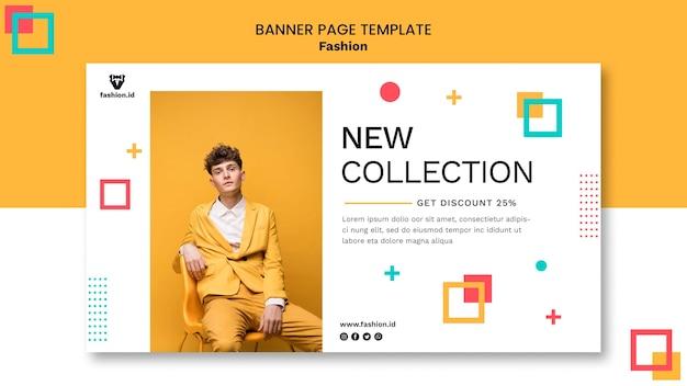 Bannermalplaatje voor mode met mannelijk model