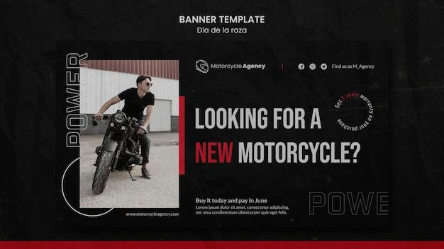 Bannermalplaatje voor motorbureau met mannelijke rijder