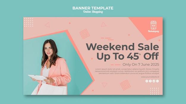 Bannermalplaatje voor online winkelen met verkoop