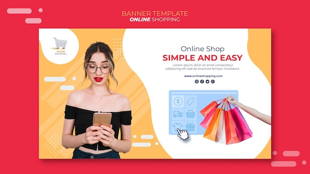 Bannermalplaatje voor online winkelen