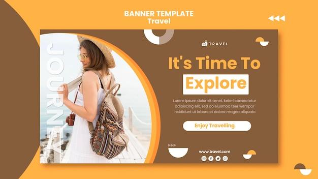 Bannermalplaatje voor reizen met vrouw