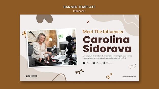 Bannermalplaatje voor schoonheidsvlogger met jonge vrouw