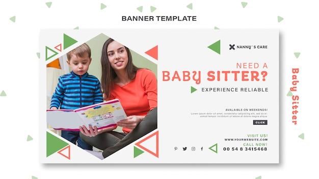 Bannermalplaatje voor vrouwelijke babysitter met kind