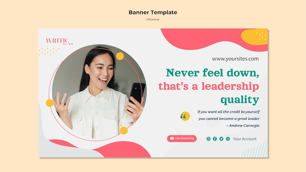 Bannermalplaatje voor vrouwelijke beïnvloeder van sociale media